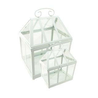 "Set of 2 White Metal and Glass Paneled Nesting Outdoor Greenhouse Terrariums 12.5""-15.5"""