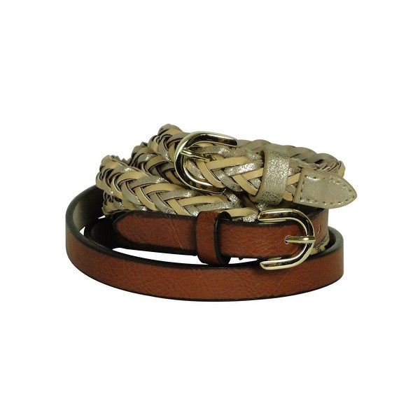 Style & Co. Women's Braided and Textured Lining Belts Set - Gold/Brown