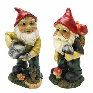 Design Toscano Gulliver and Mushroonie Garden Gnome Statues