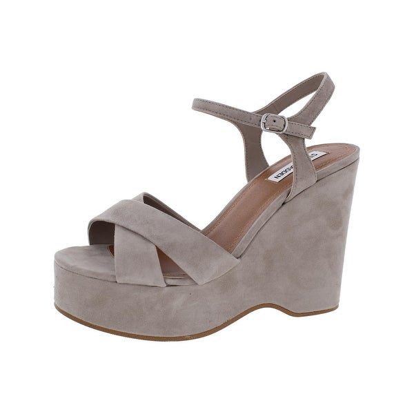 Steve Madden Womens Casper Wedge Sandals Crisscross Open Toe