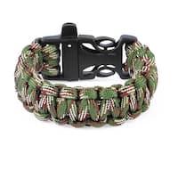 Unique Bargains Outdoor Plastic Side Release Buckle Survival Whistle Bracelet Armygreen