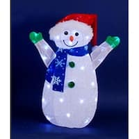 "24"" LED Lighted Jolly Snowman Wearing Santa Hat Christmas Yard Art Decoration - WHITE"