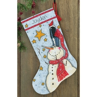 """Tall Hat Snowman Stocking Counted Cross Stitch Kit-16"""" Long 14 Count"""
