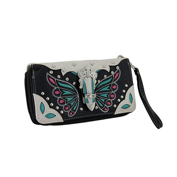 Embroidered Butterfly Rhinestone Buckle Western Style Wallet