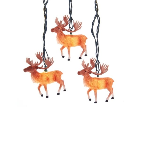 Set of 10 Reindeer with Antlers Novelty Christmas Lights - Green Wire - brown