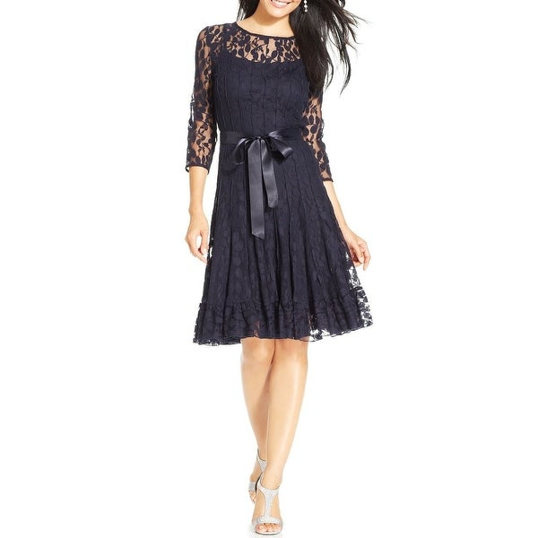 4104b6761a7 Shop MSK Plus Size Illusion Floral Lace 3 4 Sleeve Cocktail Dress - 14W -  Free Shipping Today - Overstock - 15419301