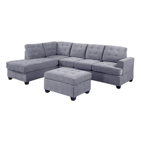 3 PC Reversible Microfiber Suede Sectional Sofa with Ottoman, Grey