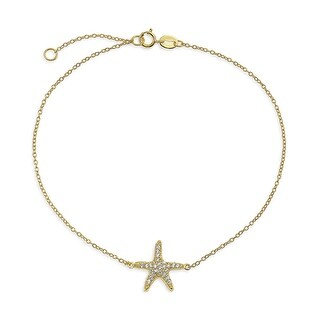 Bling Jewelry Electrocoat Gold Plated CZ 925 Silver Starfish Anklet Bracelet 9in