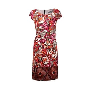NY Collection Women's Belted Printed Cap Sleeves Crepe Dress