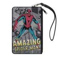 Classic The Amazing Spider Man Standing Pose Comic Scenes Grays Canvas Canvas Zipper Wallet