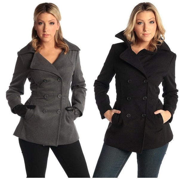Alpine Swiss Emma Womens Wool 3/4 Length Double Breasted Peacoat. Opens flyout.