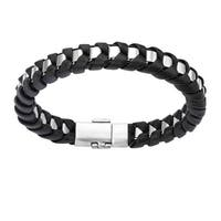 Inox Mens Stainless Steel with Black Leather Thread Bracelet 8 inch long