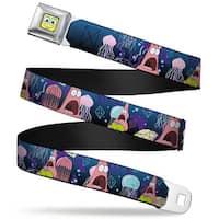 Sponge Bob Face Close Up Surprised Patrick Starfish Jellyfish Blues Purple Seatbelt Belt