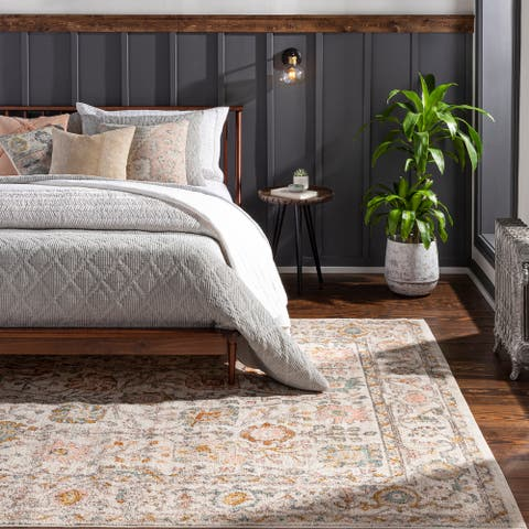Willa Bordered Floral Area Rug