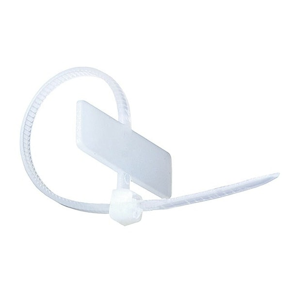 Monoprice 4-inch Marker Cable Tie, 100pcs/Pack, 18 lbs Max Weight - White