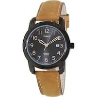 Timex Men's Elevated Classics T2P133 Black Leather Analog Quartz Fashion Watch