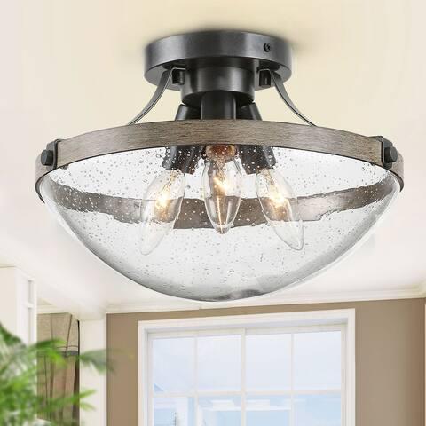 "Farmhouse 3-light Seeded Glass Semi-flush Mount Lights - W11.5""x H8"""