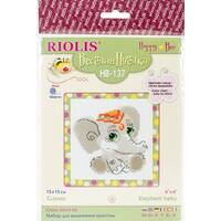"""Baby Elephant Counted Cross Stitch Kit-6""""X6"""" 10 Count"""