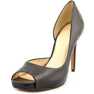 Jessica Simpson Jaselle Women Peep-Toe Leather Black Heels