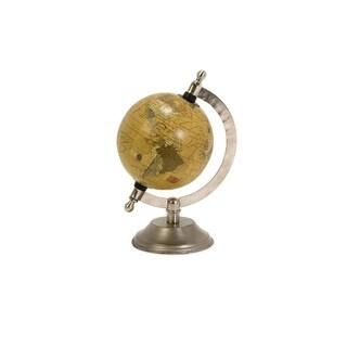 "8"" Handsome Antique Finish Decorative Desk/Office Globe with Nickel Finish Base"