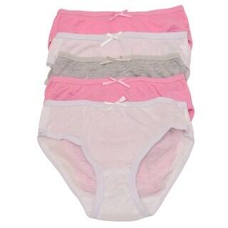 1000% Cute Little Girls White Pink Gray Tie 5 Pc Brief Underwear Pack