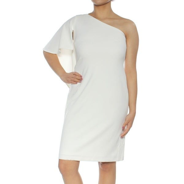 8299d3d178bb99 Shop Calvin Klein White Ivory Womens 12 Draped One-Shoulder Shift Dress -  On Sale - Free Shipping Today - Overstock - 27212978