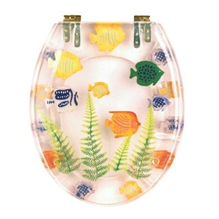 Polyresin Toilet Seat Sea Fish Ajustable Elongated Hinge   Renovator s  SupplyClear Acrylic Tropical Fish Toilet Seat   Free Shipping Today  . Tropical Fish Toilet Seat. Home Design Ideas