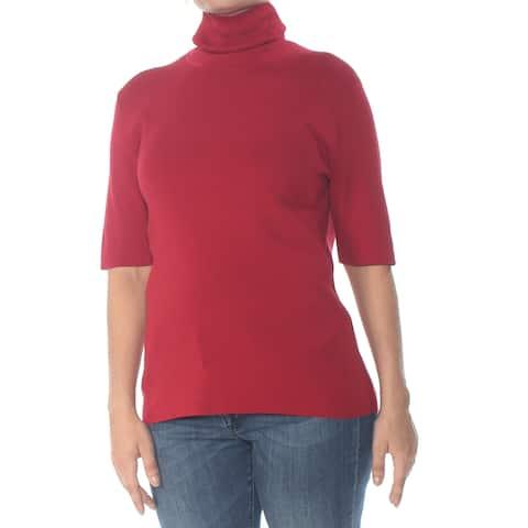 ANNE KLEIN Womens Red Short Sleeve Turtle Neck Sweater Size: L