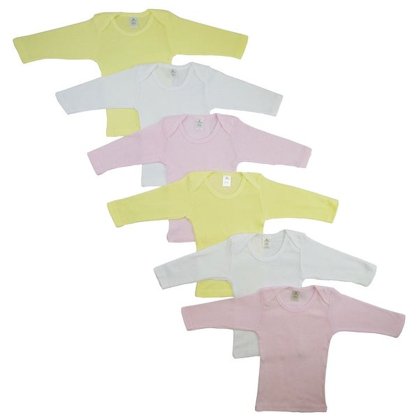 Bambini Girl's White, Pink, Yellow Rib Knit Long Sleeve Lap T-Shirt 6-Pack