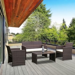 furniture deck. Costway 4 PCS Outdoor Patio Rattan Wicker Furniture Set Table Sofa Cushioned Garden Deck