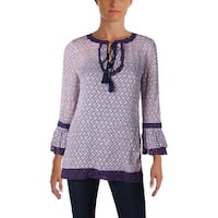 Tory Burch Womens Gwenna Tunic Top Silk Contrast Trim