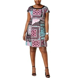 NY Collection Womens Plus Cocktail Dress Cap Sleeves Printed