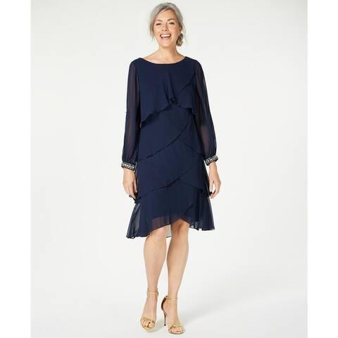 Sl Fashions Women's Long-Sleeve Tiered Chiffon Dress Blue Size 10