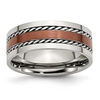 Chisel Stainless Steel Chocolate IP Plated 8mm Band