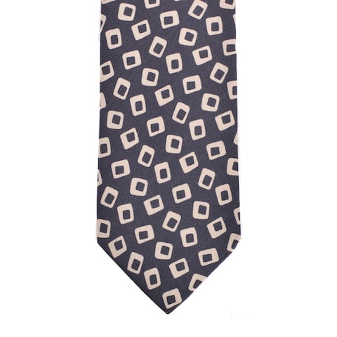 Isaia Napoli Mens Dark Grey Silk Geometric Pattern Classic Tie~RTL$275 - One Size