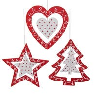 Set of 9 Alpine Chic Red and White Wooden 3-Dimensional Christmas Ornaments