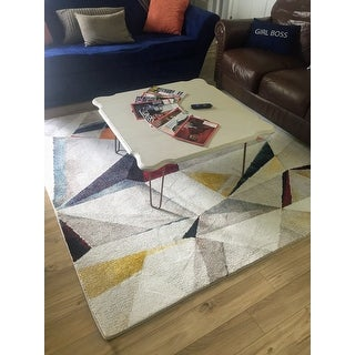 "Safavieh Porcello Modern & Contemporary Geometric - Light Grey / Orange Rug - 6'7"" x 6'7"" Square"
