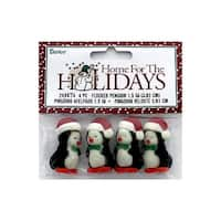 "Darice Holiday Flocked Penguin Santa Cap 1.5"" 4pc"