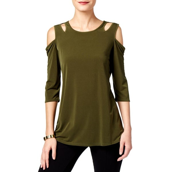 NY Collection Womens Pullover Top Cut-Out Three-Quarter Sleeves