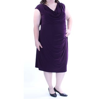 RALPH LAUREN $119 Womens New 1143 Purple Gathered EmpireWaist Dress 22W Plus B+B