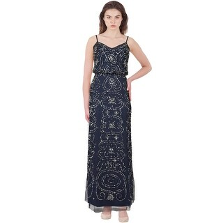 Adrianna Papell Sparkling Long Deco Bead Blouson Evening Gown Dress - 8