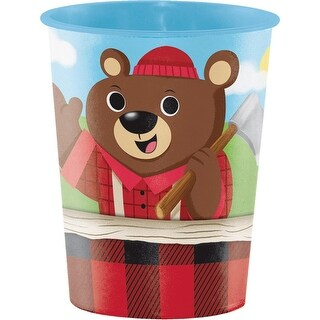 Club Pack of 12 Red and Brown Lum Bear Jack themed Keepsake Cups 4.5