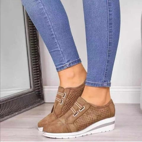 Women's Wedge Heel Hollow Round Toe Shoe