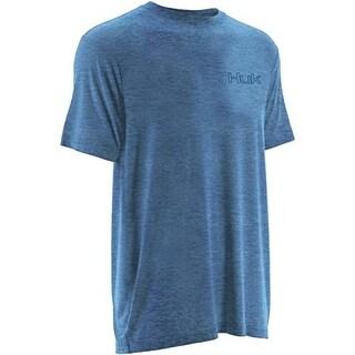 Huk Men's KC Scott Redfish Tail Heather Carolina Blue Small Short Sleeve Shirt