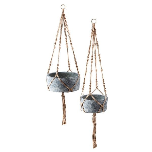 """Set of 2 Rustic Gray and Brown Handwoven Macrame Hanging Planters 9.75"""" - N/A"""