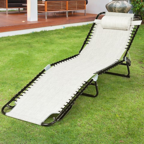 Gymax Foldable Lounge Chaise Adjustable Patio Camping Cot w/ Pillow