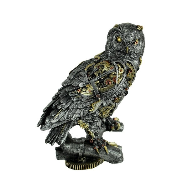 Metallic Silver and Gold Gothic Steampunk Owl Statue - 11 X 9 X 4.75 inches