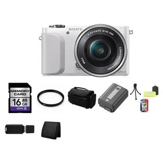 Sony NEX-3NL/W Camera with 16-50mm f/3.5-5.6 Lens (White) + 16GB SDHC Class 10 Memory Card Bundle