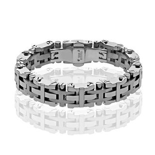 Black and Blue Men's Link Bracelet in Stainless Steel - White