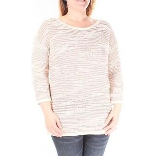 $80 INC New Womens 1426 Beige Striped Jewel Neck 3/4 Sleeve Sweater L B+B